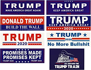 TrendyLuz 8 Pack Assorted Donald Trump President Make America Great Again MAGA 2020 Window Decal Bumper Sticker