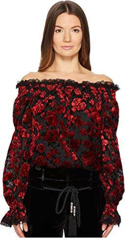 Floral Devore Top with Bare Shoulders