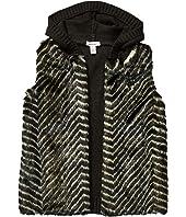 Knitted Hooded Faux Fur Vest (Big Kids)