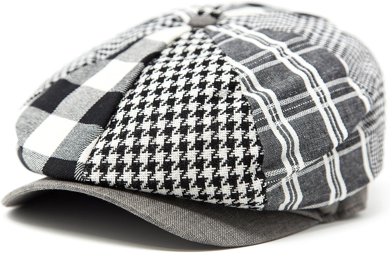FashionTS Price half reduction Men's Multi Pattern Newsboy Patchwork Hat Applejack
