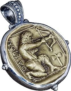 Hercules Archer Bronze Coin Mens Necklace Pendant