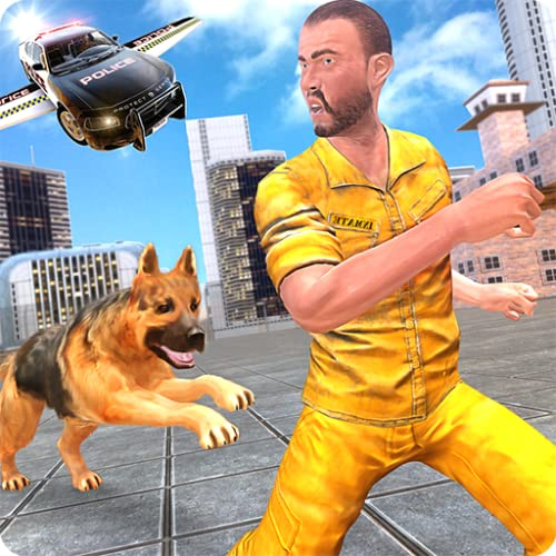 Flying Police Car n Police Dog Duty Chase Crime City Criminal Attack Adventure: Cops Vs Robbers Gangster Fighting Survival Mission Simulator Game
