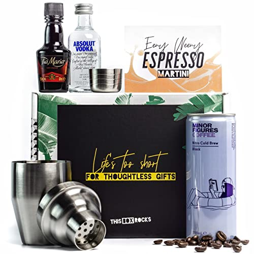 Espresso Martini Kit With Mini Cocktail Shaker Tia Maria Absolut Vodka Cold Brew