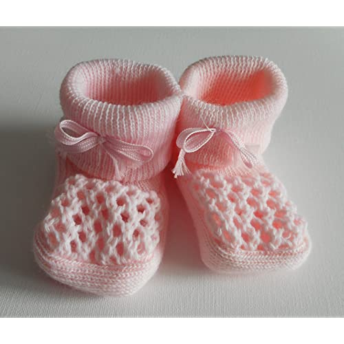 21236109f3a2 Babies Knitted Booties Baby Newborn Bootees White Pink Cream or Blue