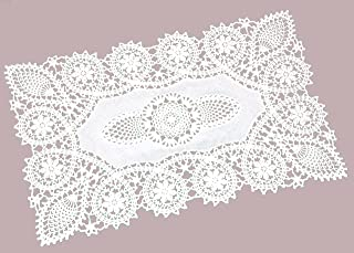 Sana Enterprises Crochet Place Mats, Vinyl Crochet, Reusable Doilies, White, Set of 8, 12 X 18 Inches