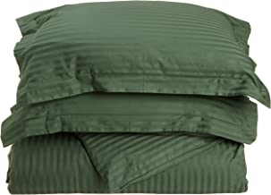 Superior 100% Premium Combed Cotton, Soft Single Ply Sateen, 3-Piece Duvet Cover Set, Stipe, Full/Queen - Hunter Green
