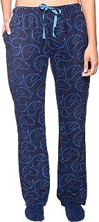 Image of Bird Fleece Pajamas Pants for Women - Navy Blue