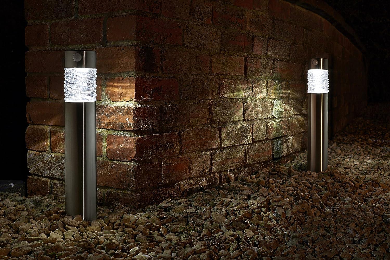2er LED Solarleuchte mit Bewegungsmelde aus hochwertigem Edelstahl und echtem Glas hergestellt  exklusive Solar Lampe, perfekt für Garten Dekoration, Wegbeleuchtung und vieles mehr (einzeln)