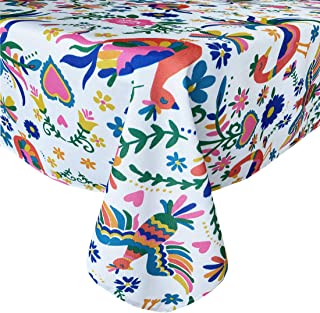 Newbridge Otomi Birds Folk Art Indoor/Outdoor Print Fabric Tablecloth - Bold Otomi Design Hotel Quality Water, Stain Resistant, Wrinkle Free Fabric Tablecloth, 52 Inch x 70 Inch Oblong/Rectangle