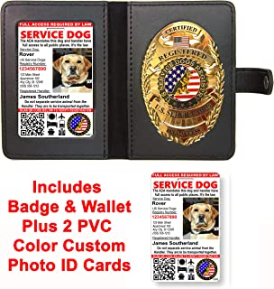 Service Dog Badge & Leather Wallet with 2 Custom Photo ID's & Registration on US Service Dog Registry