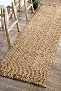 "nuLOOM Natura Collection Chunky Loop Jute Runner Rug, 2' 6"" x 10', Natural"
