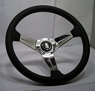 Nardi Steering Wheel - Deep Corn - 350mm (13.78 inches) - Black Perforated Leather with Red Stitching - Polished Spokes - Classic Horn Button - Part # 6069.35.3093