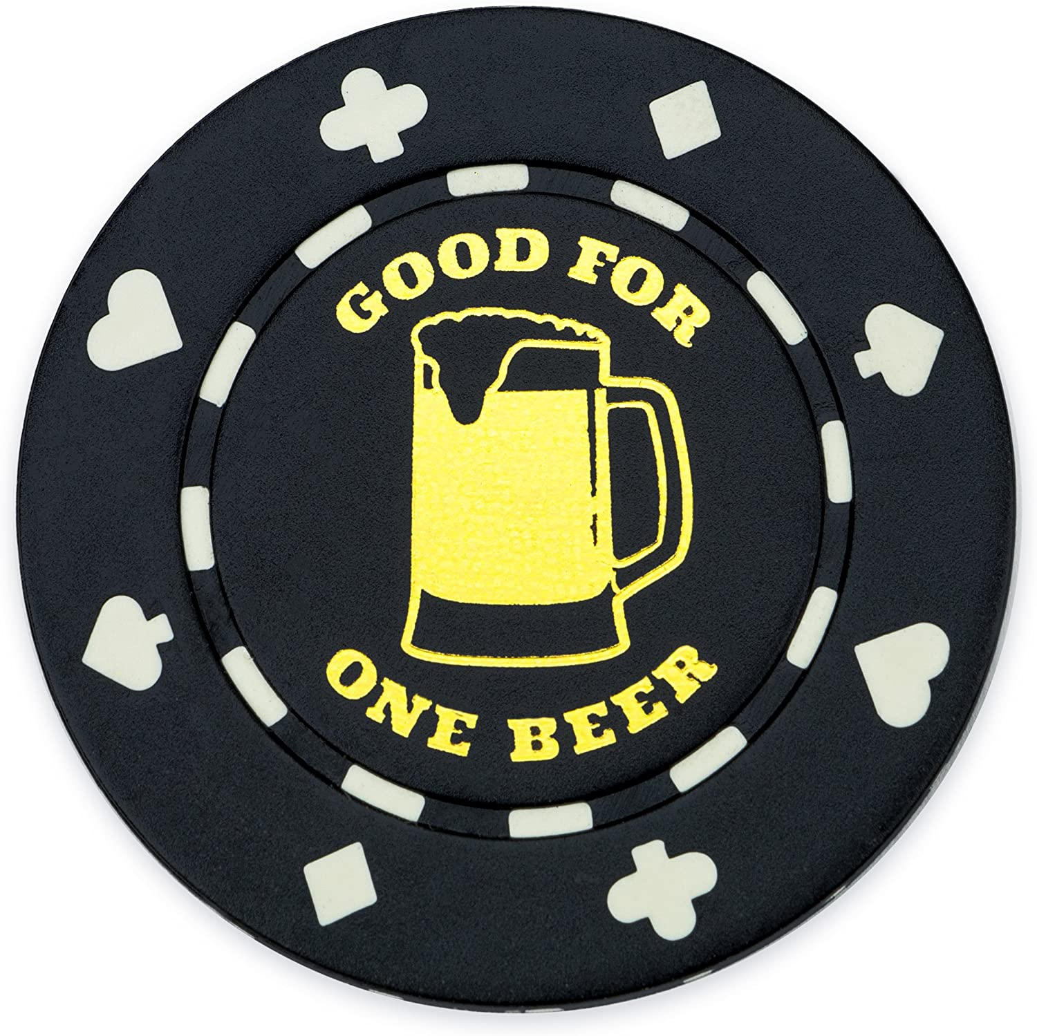 Brybelly Pack of 25 Black 1 Token Beer Poker Max 83% OFF Chips Bar Challenge the lowest price