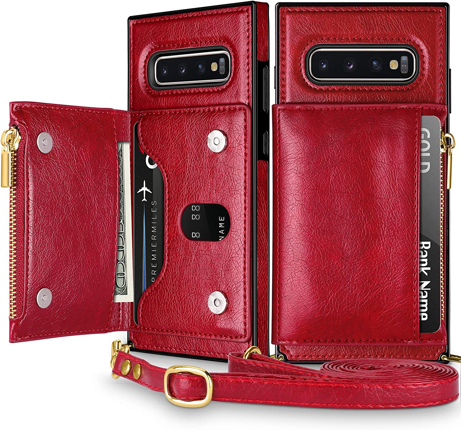 Coolden for Galaxy S10 Wallet Case with Lanyard Crossbody Strap Credit Card Holder Slot Square Cover Protective Soft PU Leather Zipper Back Case for 6.1 Inch Galaxy S10 Wine Red