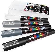 Uni POSCA - PC-1M Art Paint Markers - Set of 4 - in Plastic Wallet - Grey Tones