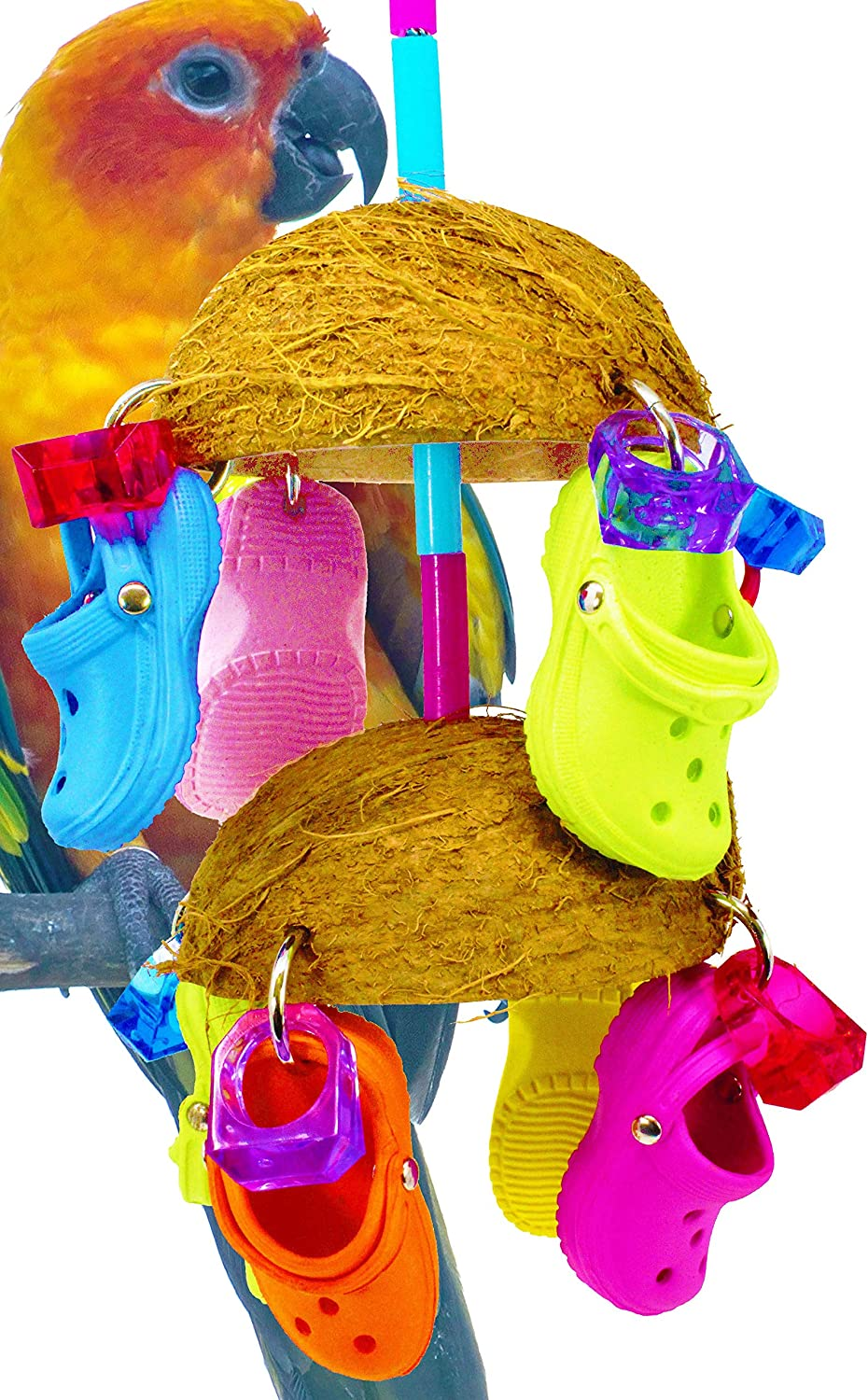 Bonka Bird Toys 806 Duo Coco Sandal Parred Bird cage African Grey Cockatoo Amazon Conure Quality Spoon Products Sandals Aviary Coconut Husk Pacifier Rope Perch Beak Domes