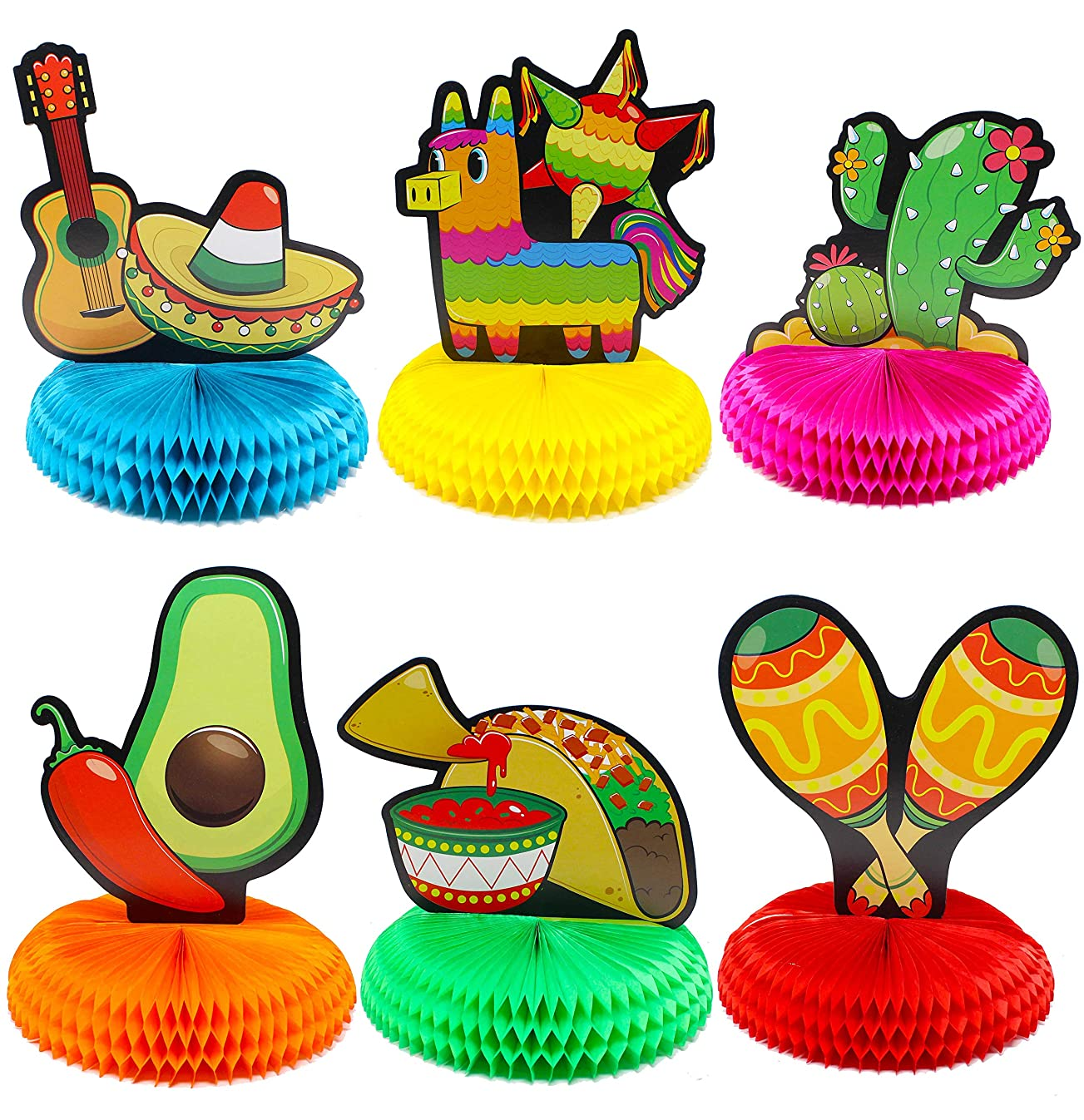 """6 PCs Cinco De Mayo Fiesta Honeycomb Table Centerpiece 8.5"""" Party Decoration for Fun Fiesta Taco Party Supplies, Luau Event Photo Props, Mexican Theme for Carnivals Festivals, Dia De Muertos, Coco Theme, Wedding, Birthdays and Party Favors"""