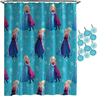 Jay Franco Disney Frozen Swirl Shower Curtain & 12-Piece Hook Set & Easy Use - Kids Bath Features Elsa and Anna (Official Disney Product)