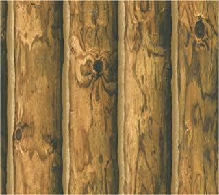 York Wallcoverings Lake Forest Lodge Mountain Logs Removable Wallpaper