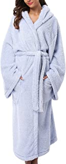 1stmall Fleece Robe, Long Hooded Bathrobe for Women's with Soft Velvet Bathrobe