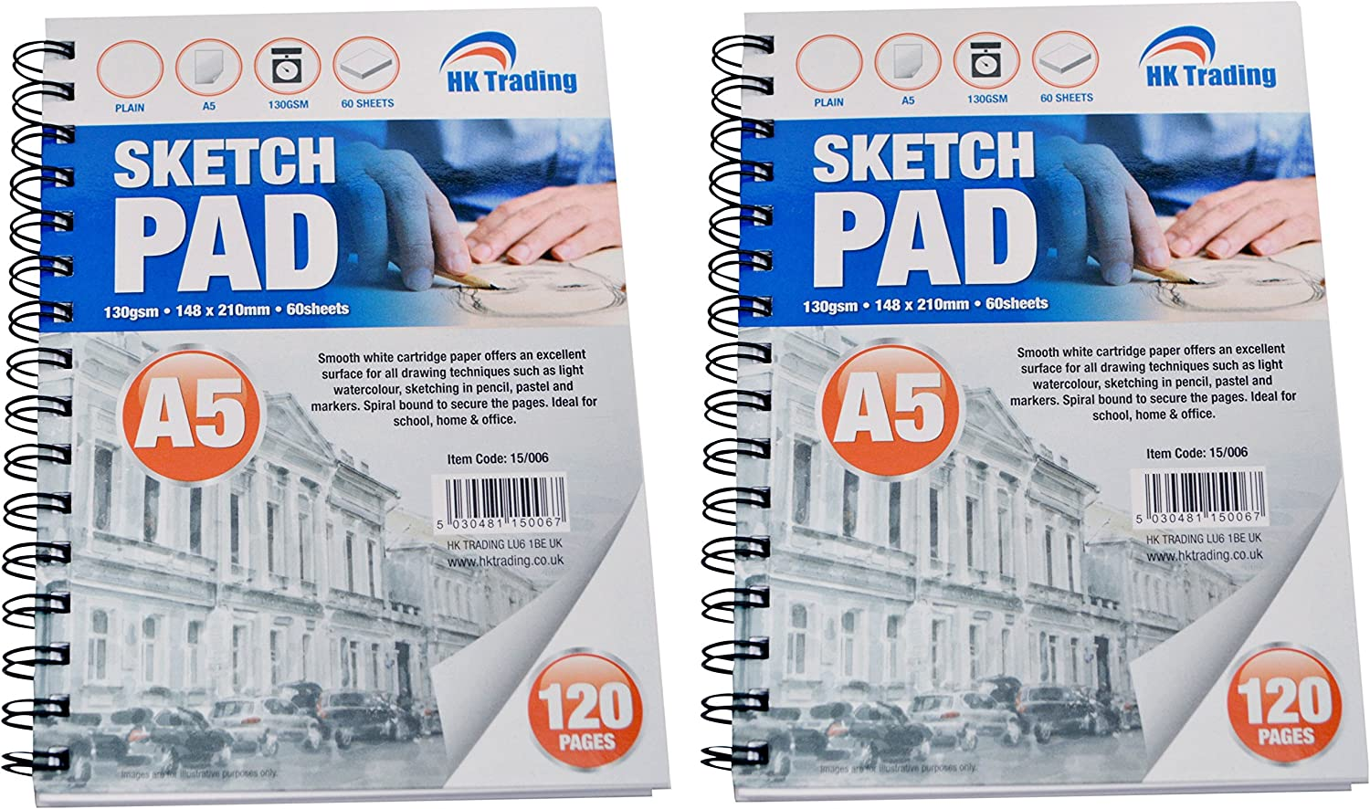 2 x A5 DRAWING SKETCH PAD - - - 130gsm 60 sheets perforated thick cartridge paper - FREE DELIVERY B01AUYNQH4 | Einzigartig