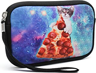Unisex Portable Washable Travel All Smartphone Wristlets Bag Clutch Wallets, Change Purse,Pencil Bag,Cosmetic Bag Pouch Coin Purse Zipper Change Holder with Strap (Cat Take Pizza)