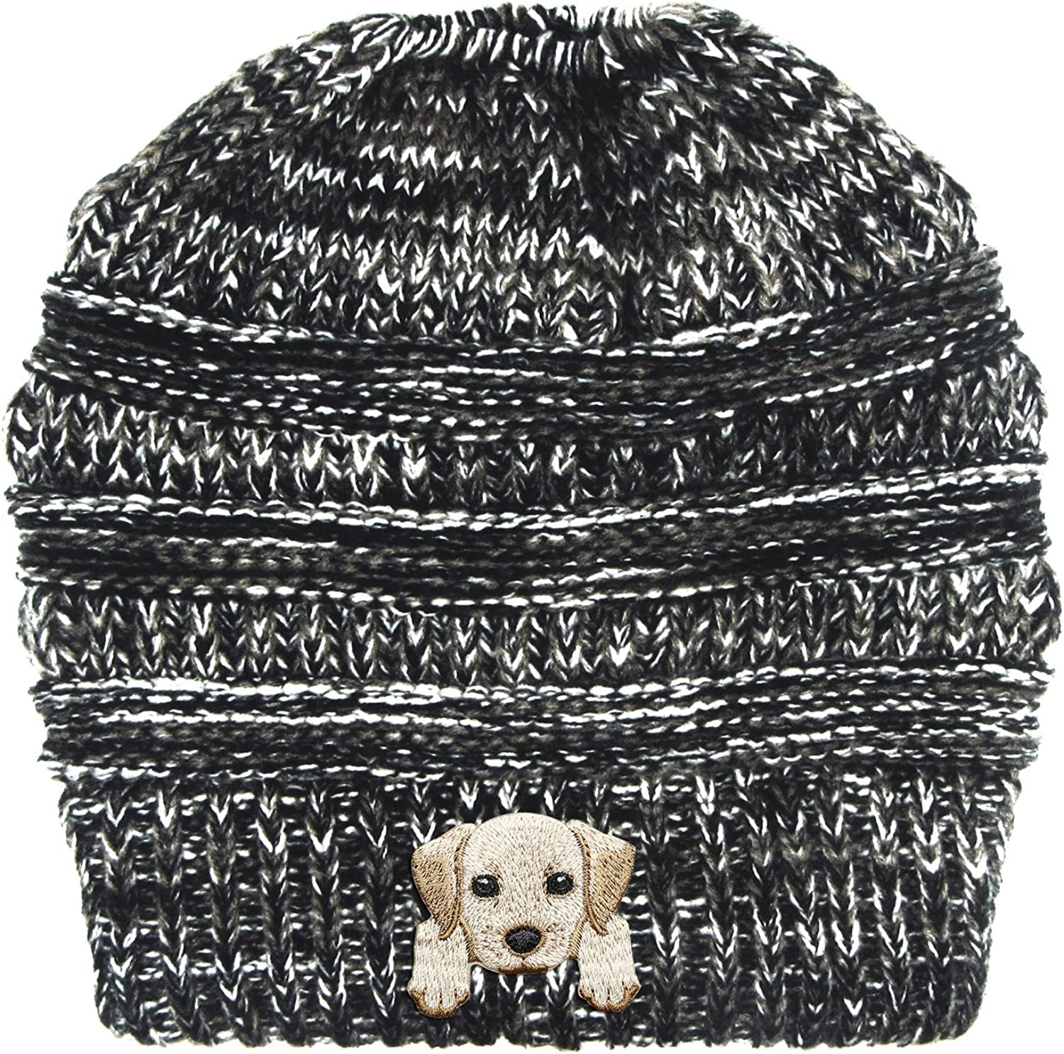 Lhotse Labrador Retriever Embroidered Puppy Dog Series Beanie  Stretch Fleece Cable Knit High Bun Ponytail Skullies Hat Cap  Black White Mix