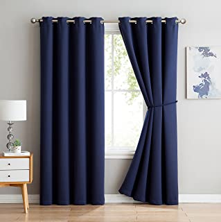 Nicole - Premium Thermal Insulated Blackout Curtain Panel - 8 Grommets - 1 Rope Tieback - 54 Inch Wide - 96 Inch Long (1 Panel 54W x 96L, Navy)