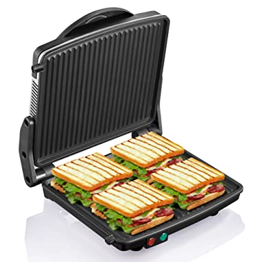 Panini Press Grill, Yabano Gourmet Sandwich Maker Non-Stick Coated Plates 11  x 9.8 , Opens 180 Degrees to Fit Any Type or Size of Food, Stainless Steel Surface and Removable Drip Tray, 4 Slice