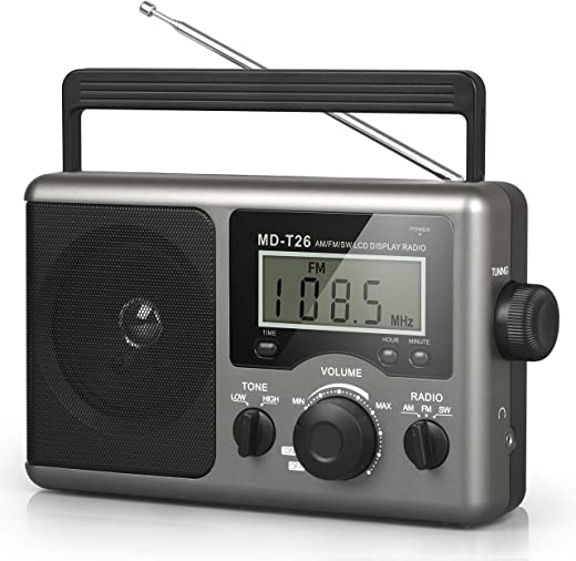 Greadio Portable Shortwave Radio,AM FM Transistor Radio with Best Reception,LCD Display,Time Setting,Battery Operated by 4 D Cell Batteries or AC Power,Big Speaker,Earphone Jack for Gift,Elder,Home