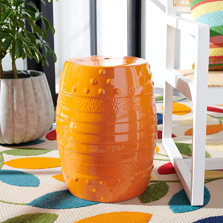 Safavieh Home Collection Frisco Orange Ceramic Decorative Garden Stool ACS5210A