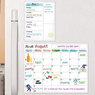 "Dry Erase Fridge Calendar - White Board Magnetic Calendar for Refrigerator Wall Home Kitchen Decor, 15""x 11.5"", Bonus Groc..."