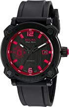 Bulova Men's Percheron Stainless Steel Swiss-Automatic Watch with Rubber Strap, Black, 22 (Model: 65B165)