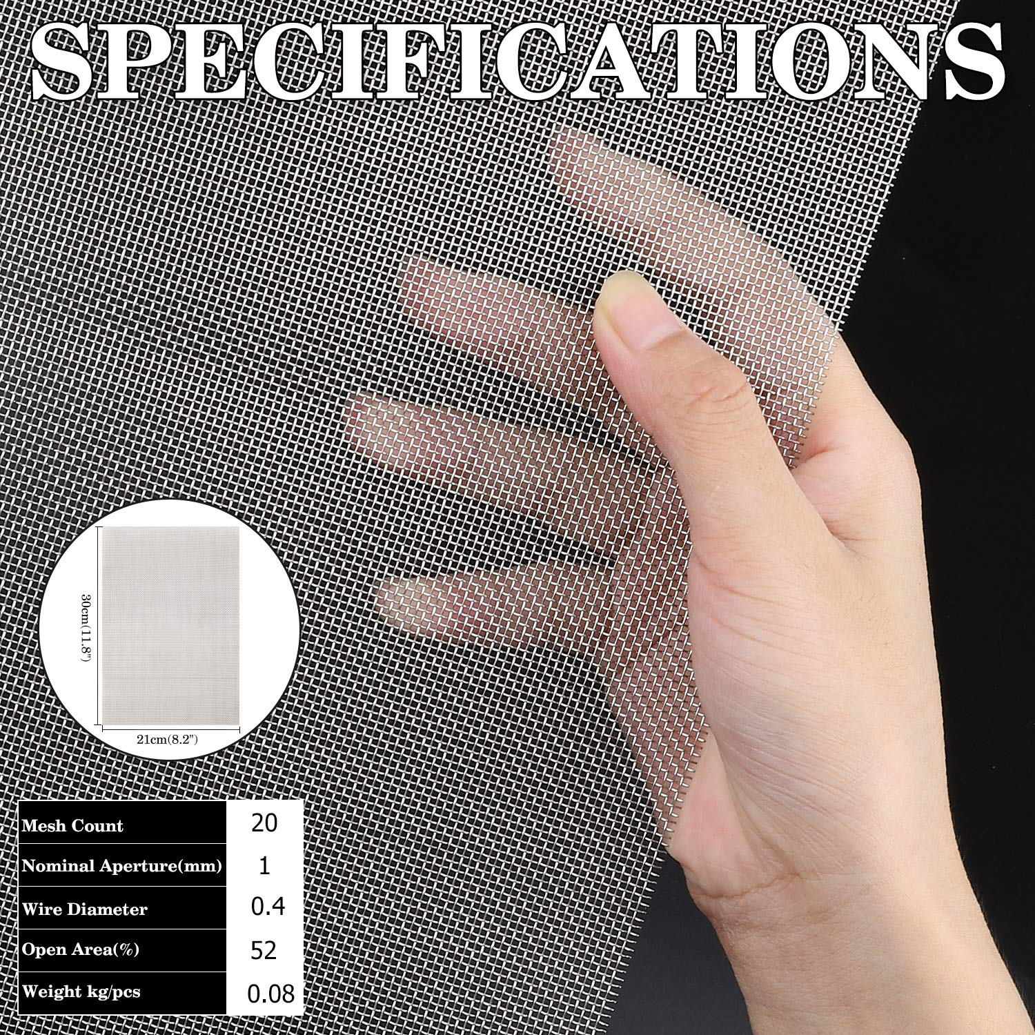 30X 21CM A4 Metal 20 Mesh Screen Sheet 1mm Hole 11.8X8.2 4PACK 304 Stainless Steel Woven Wire Mesh
