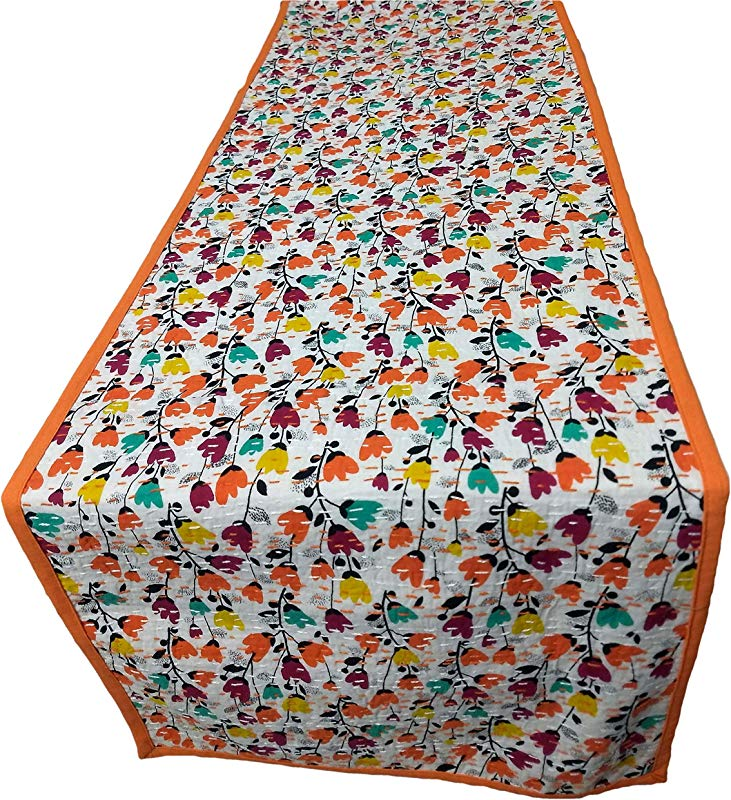 AGASVI Cotton Hand Embroidered Kantha Multi Floral Print Table Runner 86 X 14 Inch White