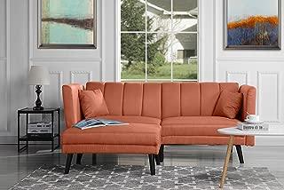 Mid-Century Modern Linen Fabric Futon Sofa Bed, Living Room Sleeper Couch (Orange)