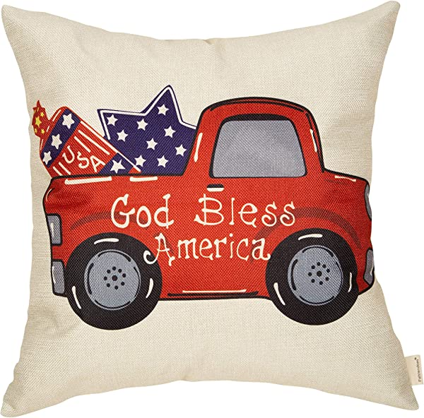 Fahrendom Happy July 4th Farmhouse Home D Cor God Bless America Patriotic Decorative Throw Pillow Cover Vintage Red Truck American Flag Sign Decoration Cotton Linen Cushion Case Sofa Couch 18 X 18 In