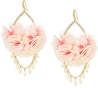 Carolee Petals and Pearls Collection Women's Fabric Flower Drama with Freshwater Pearl Drop Earrings, Gold/Pink