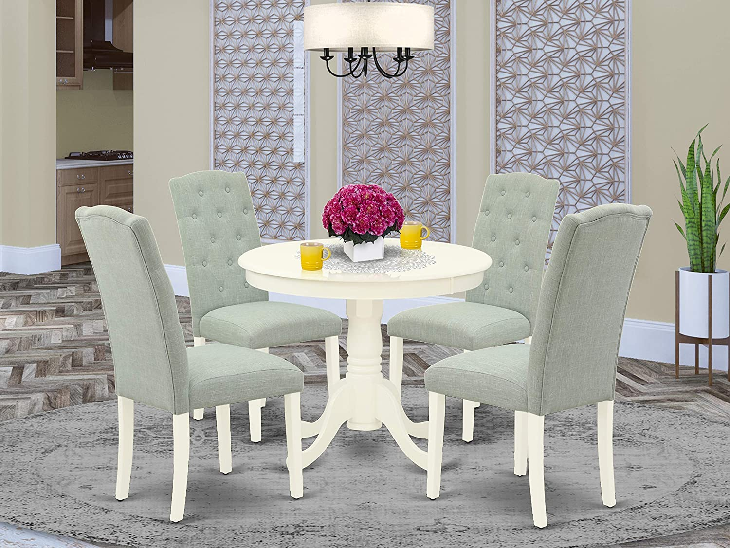East West Furniture 9Pc Dining Set Includes a Small Round Dinette Table and  Four Parson Chairs with Baby Blue Fabric, Linen White Finish