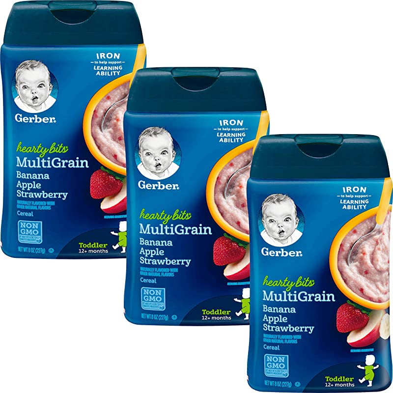 Gerber Baby Cereal Hearty Bits Multigrain Cereal Banana Apple Strawberry 8 Ounce Pack Of 3
