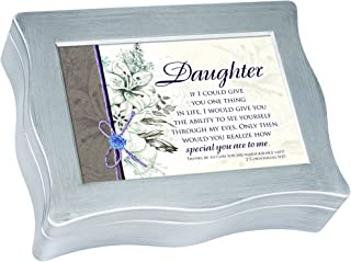 Cottage Garden Daughter If I Could Give You One Brushed Silvertone Jewelry Music Box Plays Blessings