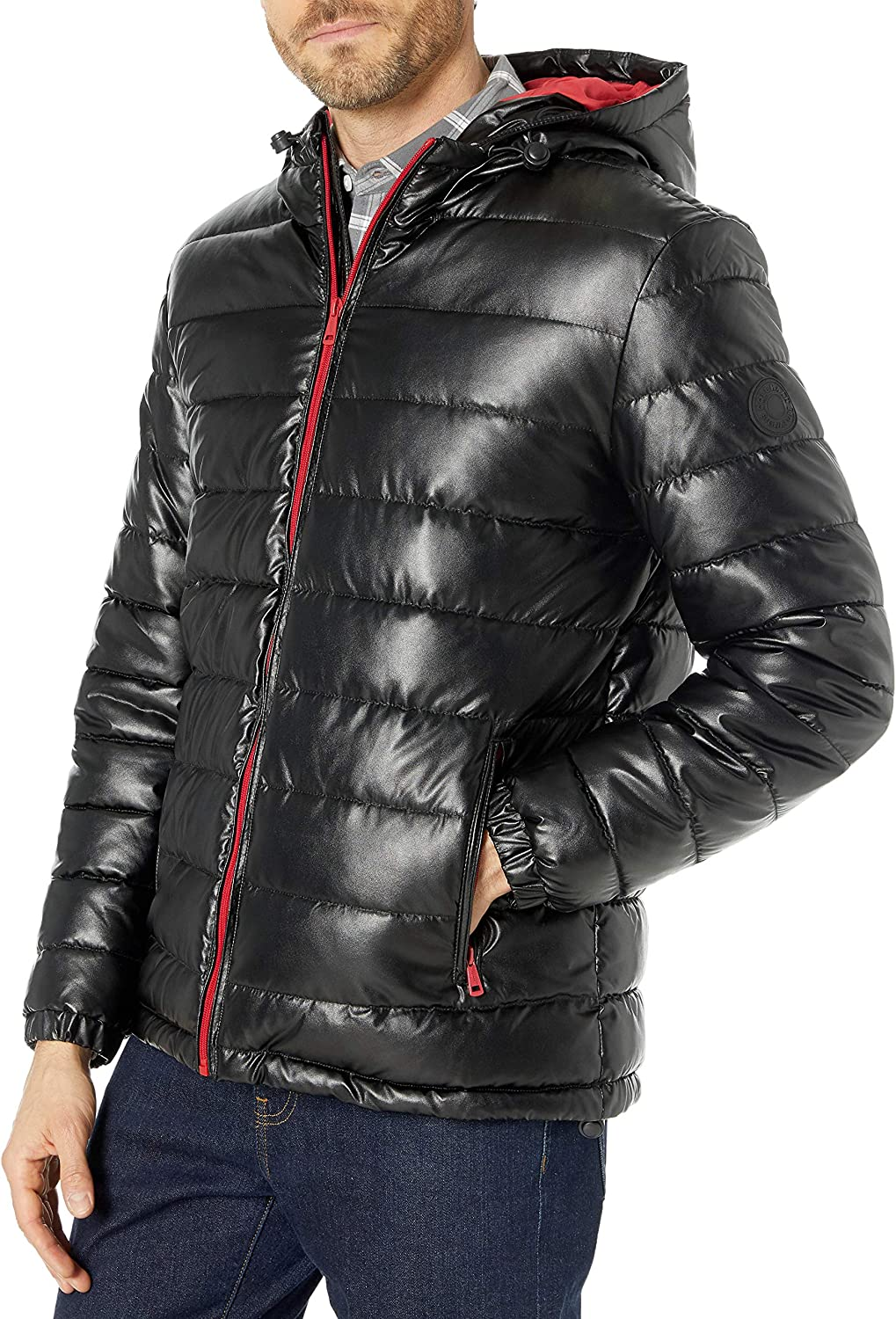 Cole Haan Signature Men's Hooded Faux Leather Jacket