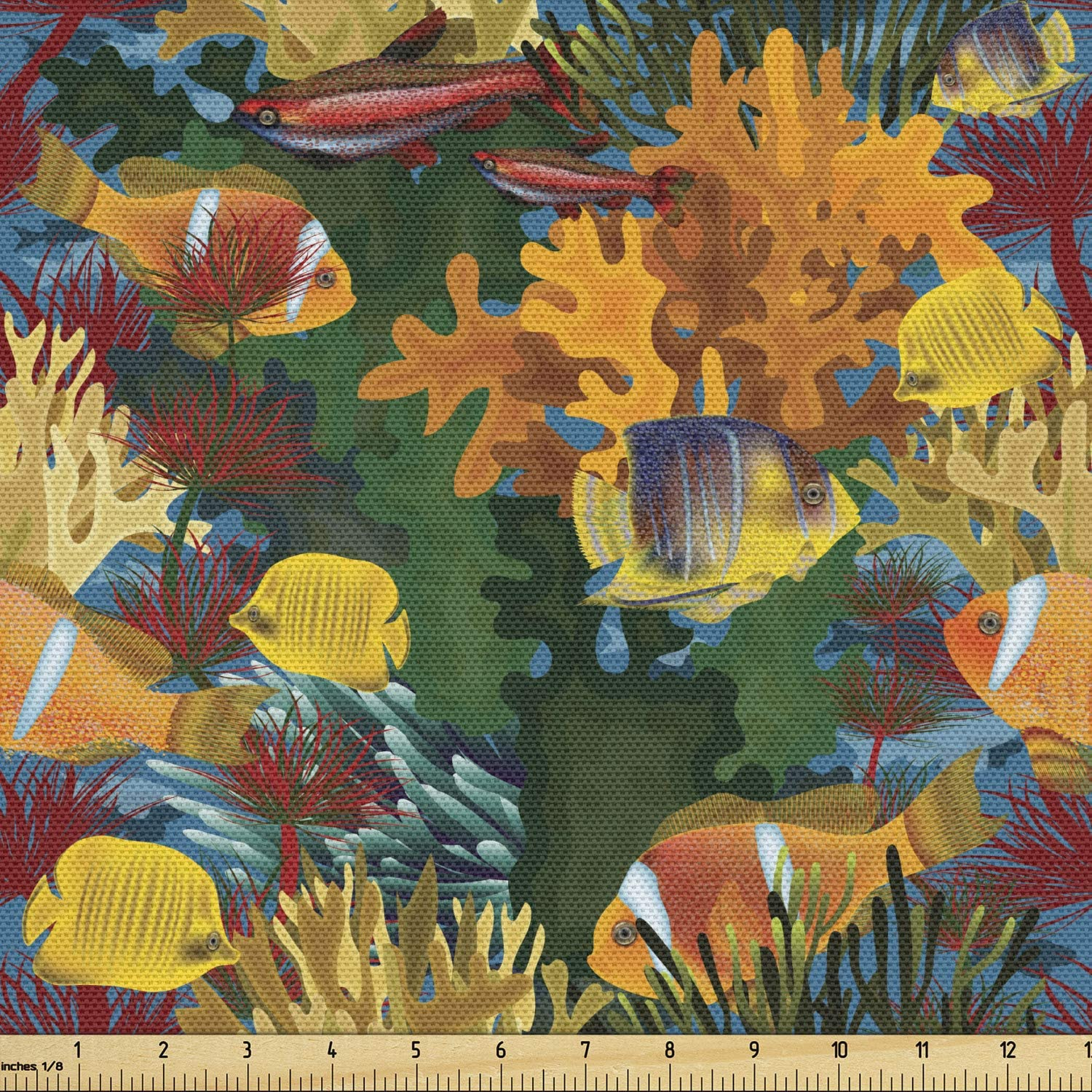 Ambesonne Clown Fabric by The Yard, Continuous Colorful Underwater Pattern with Tropical Fish Type Reef and Corals Print, Decorative Fabric for Upholstery and Home Accents, 2 Yards, Orange Green