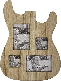 Rise8 Studios Guitar Body Shaped Music Picture Frame for 4x6 and 3x4 Photos (Natural Wood Color)