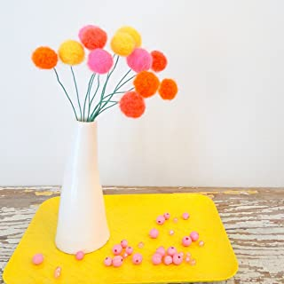 Felt pom pom flowers. Wool pompom. Bright pink, yellow, orange flowers, Faux, fake flowers. Craspedia, billy balls. Coral Felt balls.