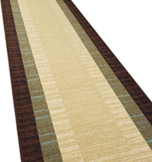 Custom Cut 31-inch Wide by 11-feet Long Runner, Brown Teal Bordered Non Slip, Non-Skid, Rubber Backed Stair, Hallway, Kitchen, Carpet Runner Rug - Choose Your Width by Length