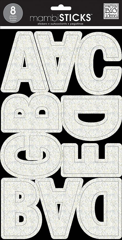 me & my BIG ideas Large Alpha Sticker, Ava Prisma, White Glitter