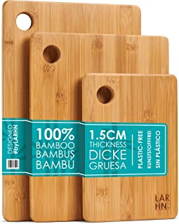 LARHN Houten Snijplanken – 3-Delige Extra Dikke Snijplankenset - 33x22cm / 28x22cm / 22x15cm - Grebuik als Keukenplanken, ...