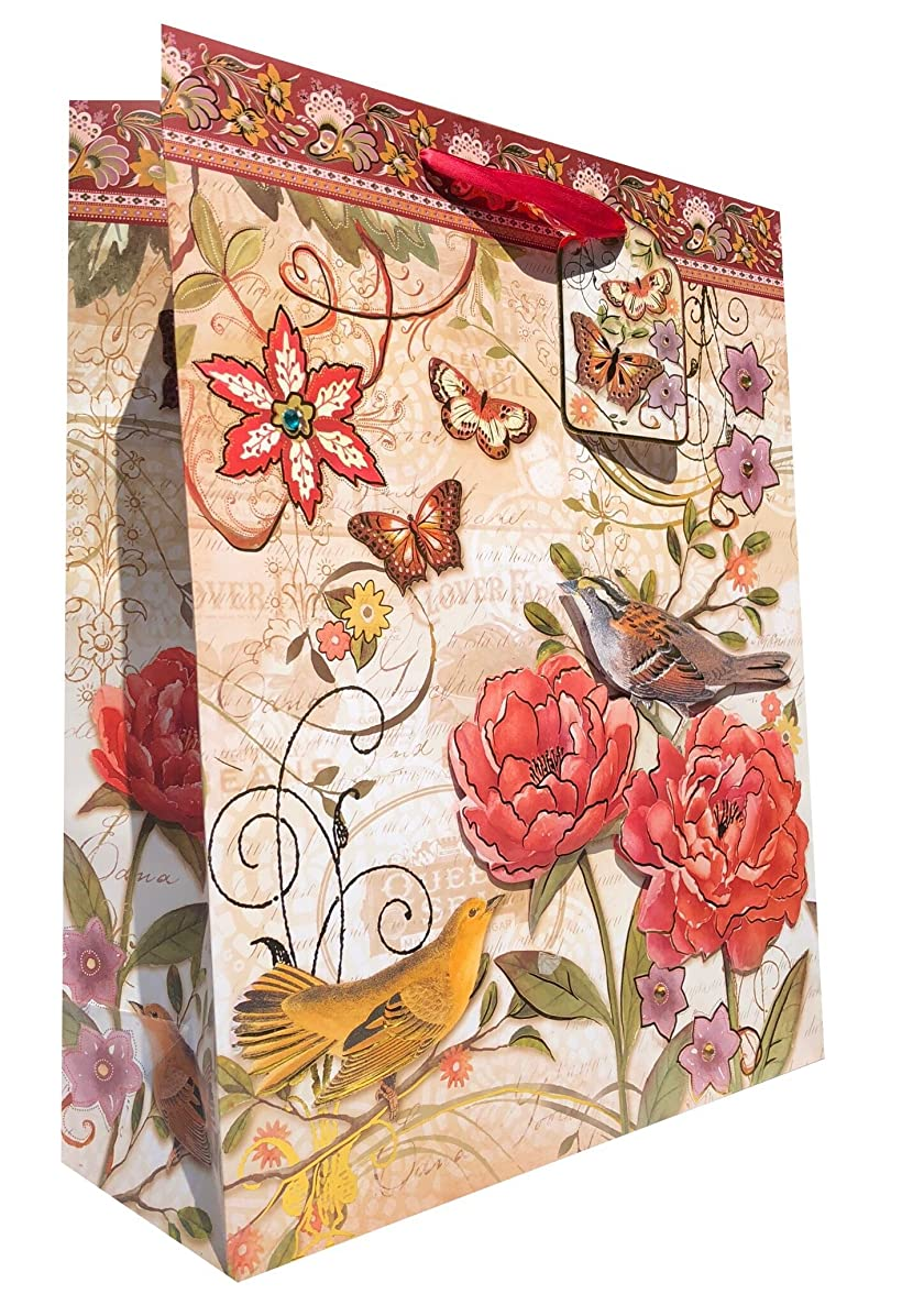 Punch Studio Large Vertical Gold Foil 3-D Embellished Gift Bag w/Gift Tag ~Peony Sparrow Bird 62462