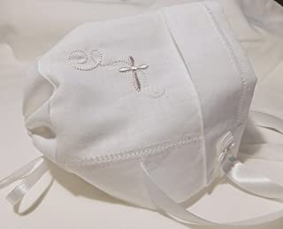 Integrity Designs Baby Linen Keepsake Cross Embroidered Handkerchief Christening/Baptism Bonnet and Gift Card with Envelope